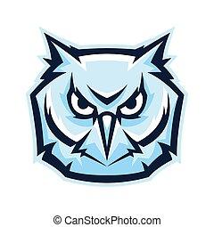 Mascot stylized owl head.