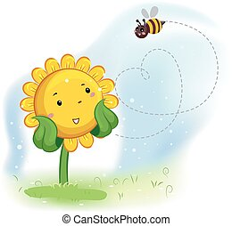 Mascot Sunflower Enjoy Bee