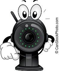 Mascot Surveillance Camera Pointing Finger