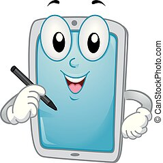 Mascot Tablet Stylus Pen Illustration