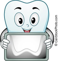 Mascot Illustration of a Happy Tooth Showing a Radiologic Scan of its Root