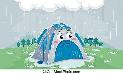 Mascot Tent Sad Rain