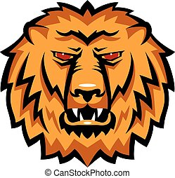 Mascot the muzzle of a lion. Talisman college sports teams, school logo.