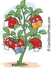 Mascot Tomato Plant Class - Colorful Illustration Featuring...