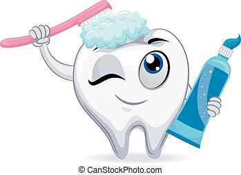 Mascot Tooth Brushing itself - Vector Illustration of Mascot...