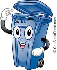 Mascot Trash Can - Mascot Illustration of an Open Trash Can...