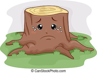Mascot Tree Stump Crying - Mascot Illustration of a Tree...