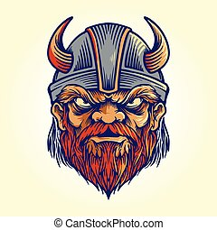 Mascot Viking Logo Helmet illustration