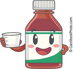 Mascot Vitamin Syrup Cup Illustration