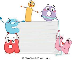 Mascot Vowels Paper Board Illustration