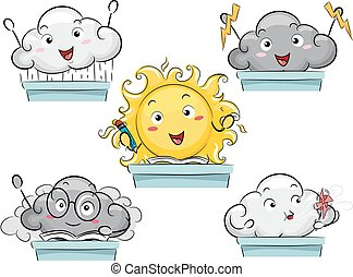 Mascot Weather Elements Class - Mascot Illustration...