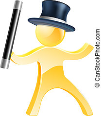 Mascot with wand and top hat - Mascot person magician with a...