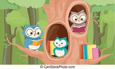 mascota, árbol, biblioteca, búhos