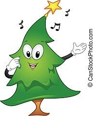 mascota, árbol de navidad, cantar