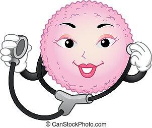 mascota, arriba, huevo, ilustración, célula, cheque