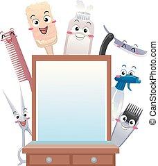 mascota, barbería, herramientas, ilustración