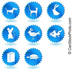 mascota, botón, conjunto, animales, tienda