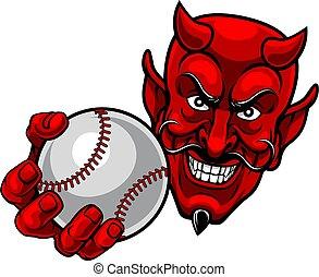 mascota, caricatura, pelota, beisball, satanás, diablo, ...