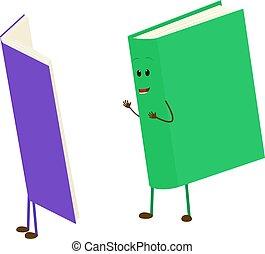 mascota, caricatura, vector, libro, leer, libro