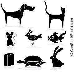 mascota, conjunto, animales, tienda, icono