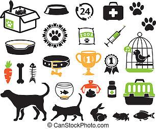 mascota, conjunto, iconos
