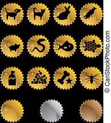 mascota, conjunto, oro, icono