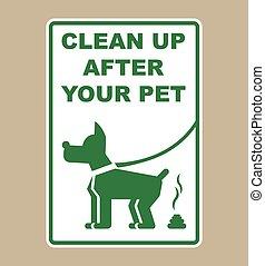 mascota, después, arriba, señal, limpio, su