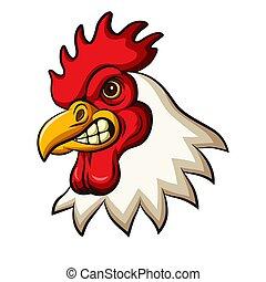 mascota, diseño, pollo, gallo, cabeza