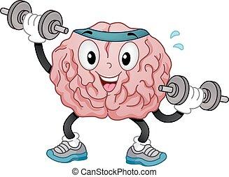 mascota, dumbbell, cerebro