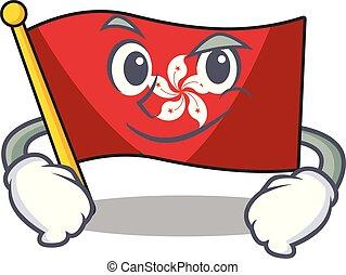 mascota, el smirking, pared, hongkong, clings, bandera