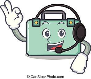 mascota, estilo, maleta, caricatura, auricular