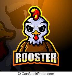 mascota, gallo, diseño, logotipo, esport