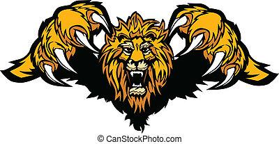 mascota, gráfico, vector, león, abalanzar