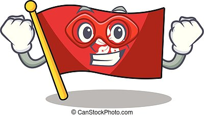 mascota, héroe, pared, súper, clings, hongkong, bandera