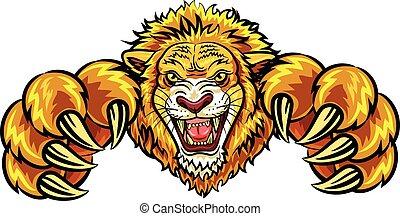 mascota, león, enojado, ilustración