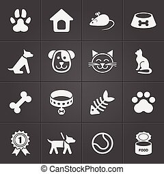 mascota, lindo, vector, black., iconos