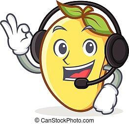 mascota, mango, carácter, caricatura, auricular