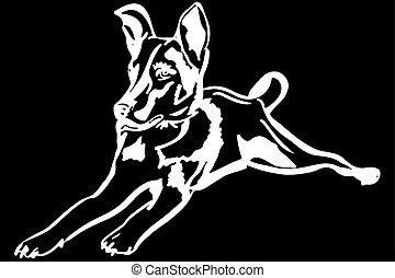 mascota, mentiras, bosquejo, perrito