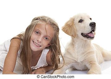 mascota, niño, cachorro, perro, feliz