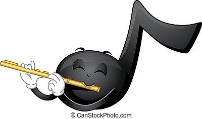 mascota, nota música, flauta