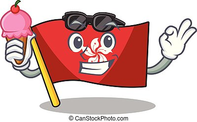 mascota, pared, hielo, hongkong, clings, crema, bandera