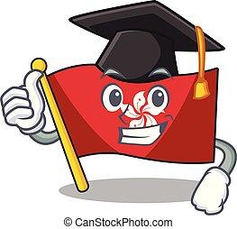 mascota, pared, hongkong, clings, bandera, graduación