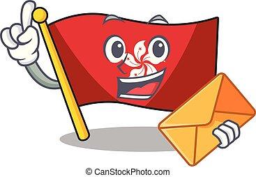 mascota, pared, hongkong, clings, bandera, sobre