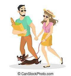 mascota, pareja, calle, caminata del perro