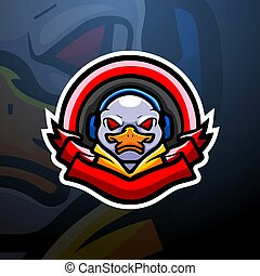 mascota, pato, juego, diseño, logotipo, esport