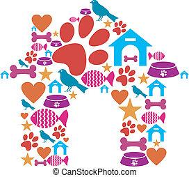 mascota, perrera, forma, hecho, con, icono, conjunto