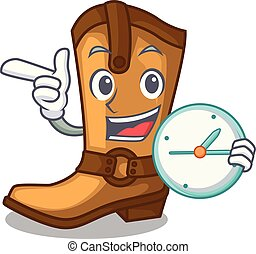 mascota, reloj, aislado, botas, vaquero
