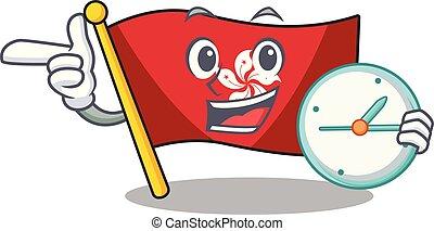 mascota, reloj pared, hongkong, clings, bandera