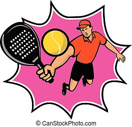 mascota, saltar, padel, bll, jugador, retro, raqueta
