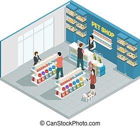 mascota, tienda, composición